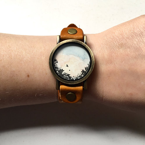 Haven / timeless watch with original tiny painting