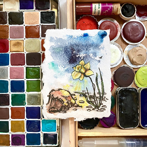 Daffodil Shines in the Bedrock Storm / tiny mixed media art (unframed)