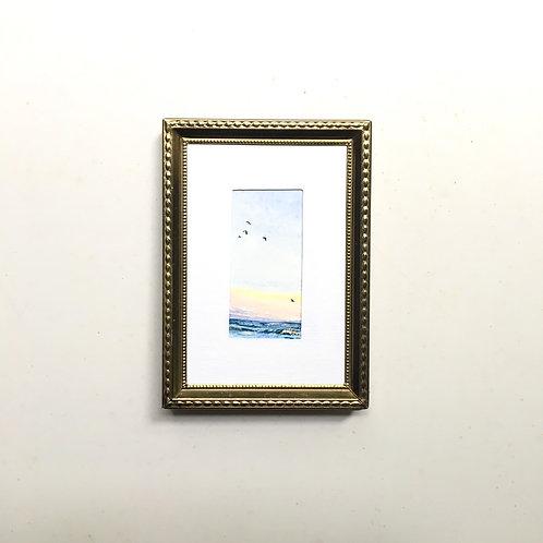 Afloat / original tiny painting (framed)