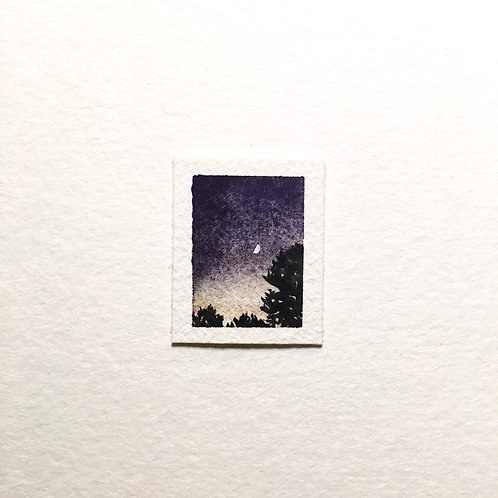 First Quarter / tiny landscape painting (unframed)