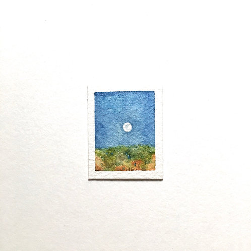 Snow White Orb / tiny landscape painting (unframed)