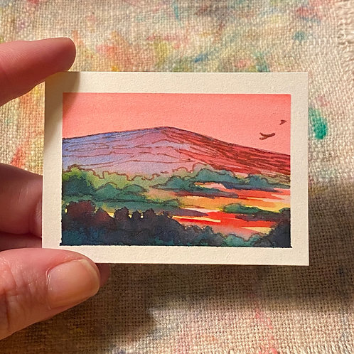 Lonely Mountain With Two Friends / tiny mixed media art (unframed)