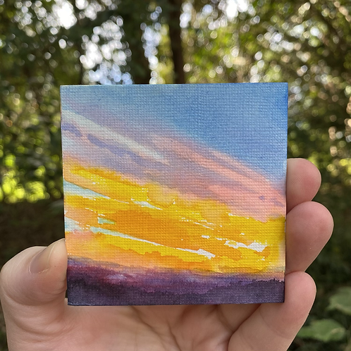 Sunlit Clouds In Rainbow / tiny painting (unframed)