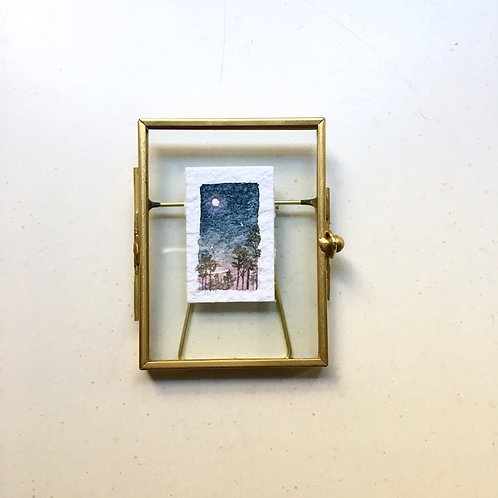 Radiance / original tiny watercolor painting (framed)