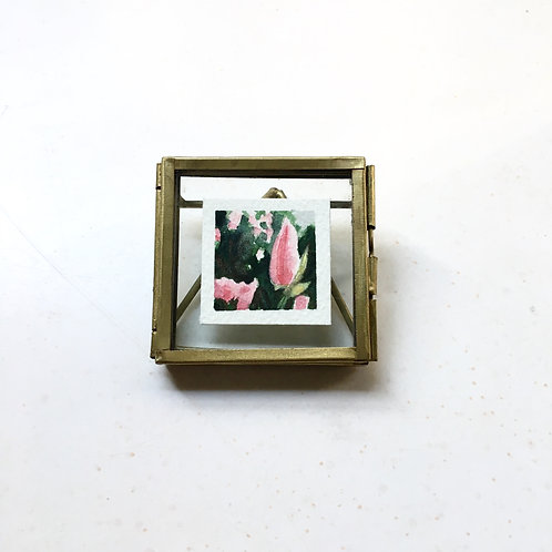 At Home / original tiny watercolor painting (framed)