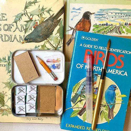 Birdwatcher tiny art kit