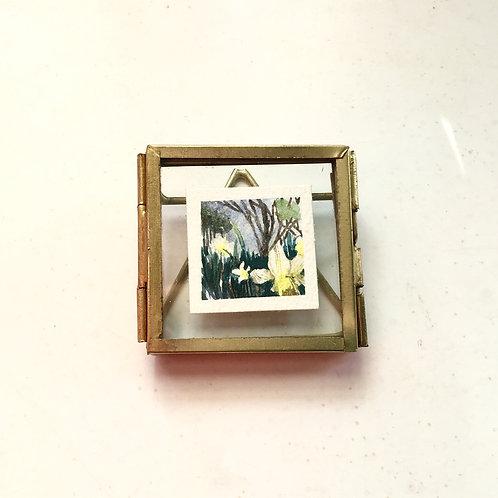 Waking / original tiny watercolor painting (framed)