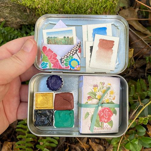 Mountain Floral Fields / tiny fancy philately art kit