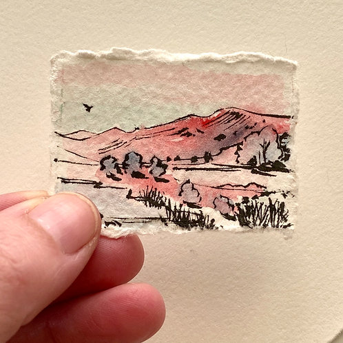 Searching / tiny landscape painting (unframed)