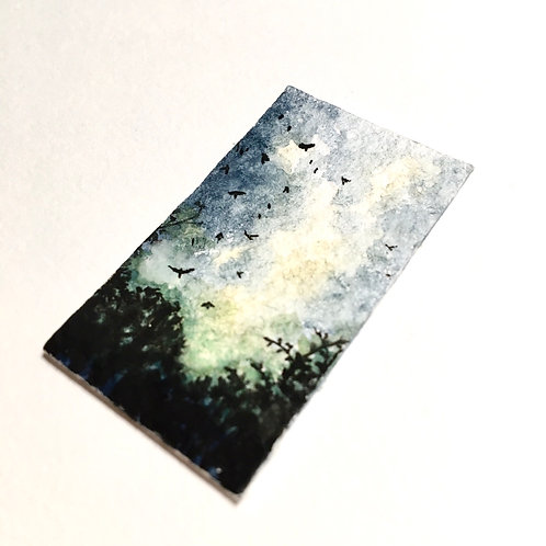 Sundown Rising / original tiny landscape painting (unframed)