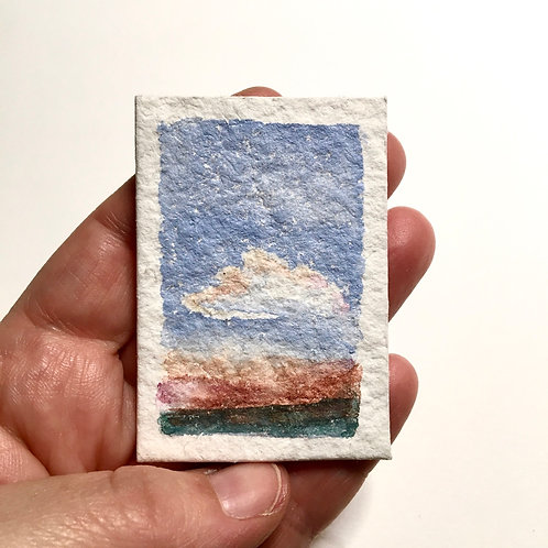 Patiently Bearing / original tiny watercolor landscape (unframed)