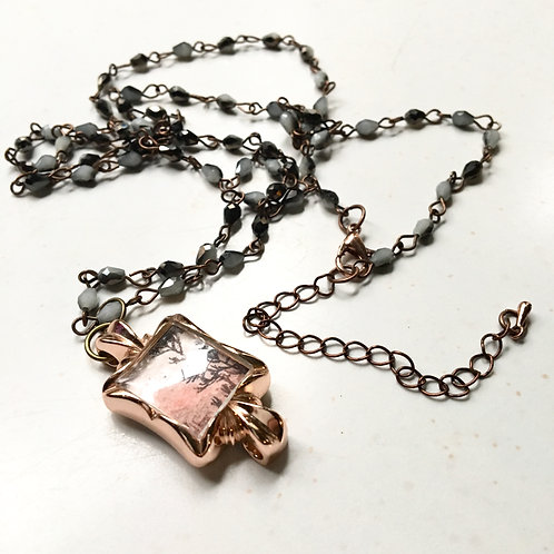 Robust / timeless watch pendant + necklace with original tiny painting