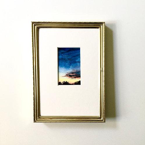 Rainbow Skies / original tiny landscape painting (framed)