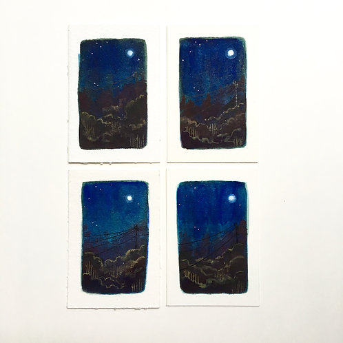 Moon Power / tiny studies (unframed)