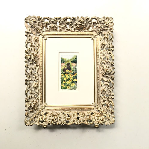 Sunning / original tiny watercolor painting (framed)