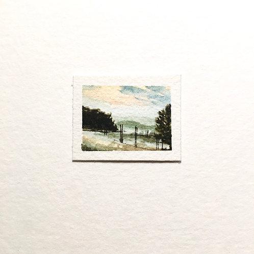 Fog / tiny landscape painting (unframed)