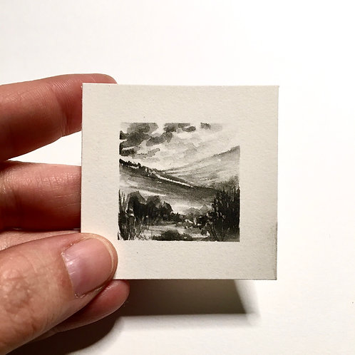 Contrasts In Terrain / original tiny watercolor landscape painting