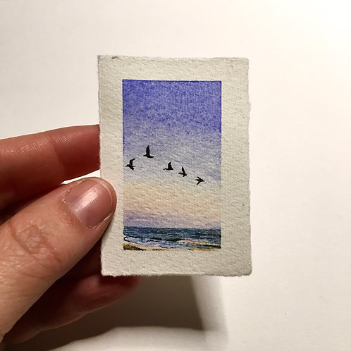 Coasting / original tiny landscape painting (unframed)