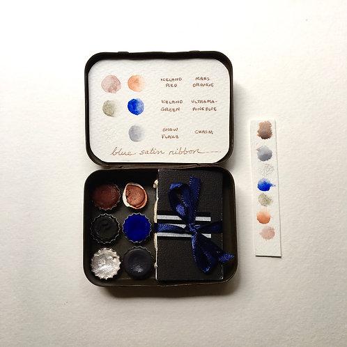 Blue Satin Ribbon Tiny Art Kit