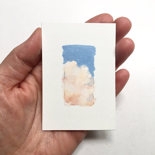 Cloud Nine / original tiny watercolor study (unframed)