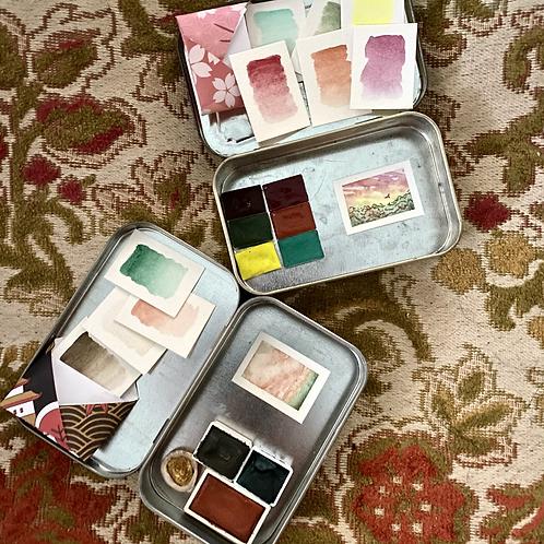 Wild Peach Rose / tiny fancy philately art kit