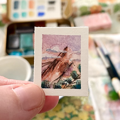 Blushing Mountain / tiny watercolor painting