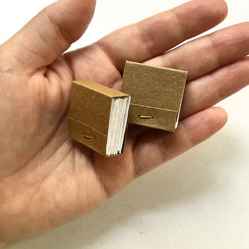 Tiny Kraft Watercolor Matchbook Sketchbook (2.5x2.5 cm)