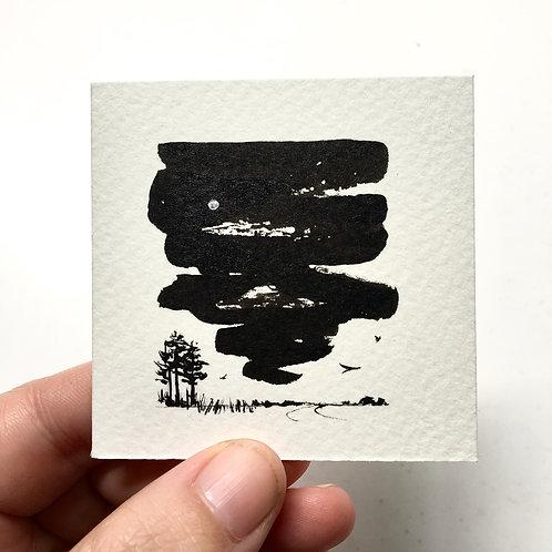 Sky Curtain Pines / original tiny art unframed