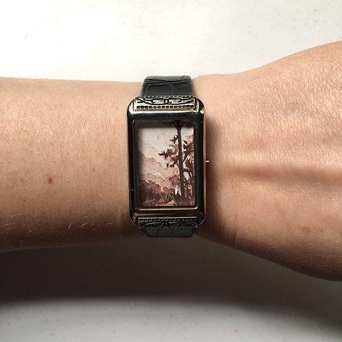 Refuge / timeless watch with original tiny painting