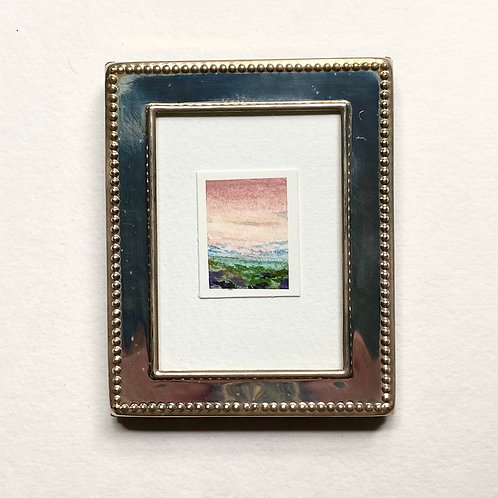 Sakura Skies / tiny painting (framed)