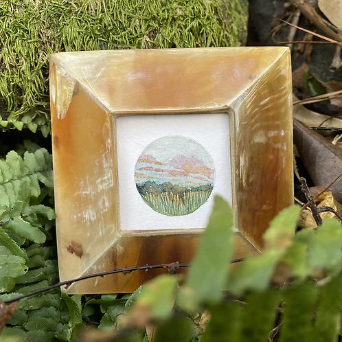 Fields In Morning Light / tiny mixed media (framed)
