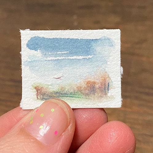 Ascend / tiny watercolor painting (unframed)