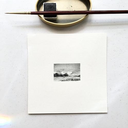 Summer Trees / original tiny art unframed