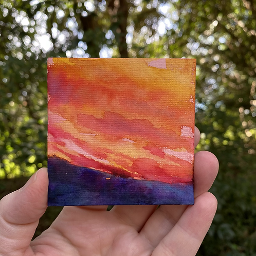 Sunlit Clouds in Reds / tiny painting (unframed)