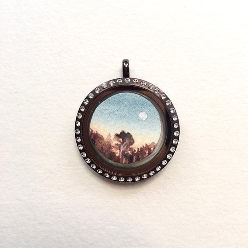 Honesty + Last Quarter / tiny double art locket pendant