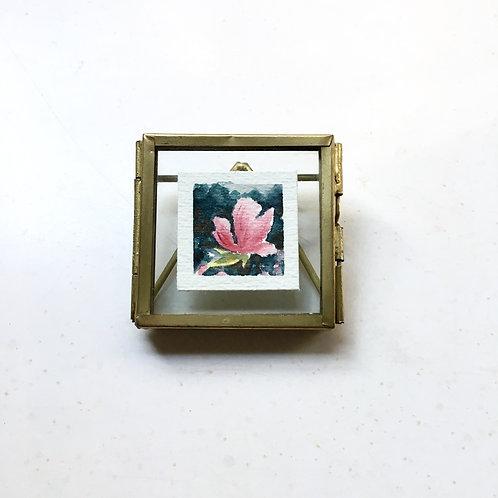 The Rain / original tiny watercolor painting (frame)