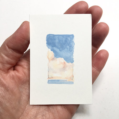 In the Clouds / original tiny watercolor study (unframed)