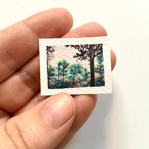 November In Fog / original tiny watercolor painting (unframed)