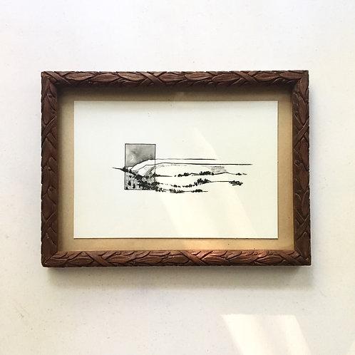 Blue Ridge Night / tattoo design + tiny art (framed) for Matt Strickland