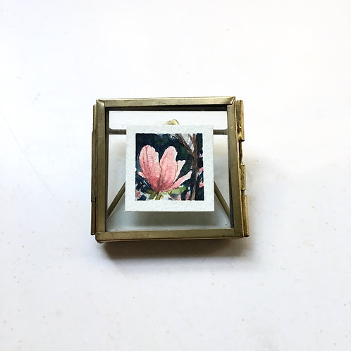 Gentle / original tiny watercolor painting (framed)