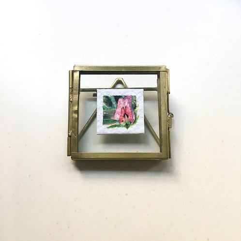 Wild Pea / original tiny watercolor painting (framed)