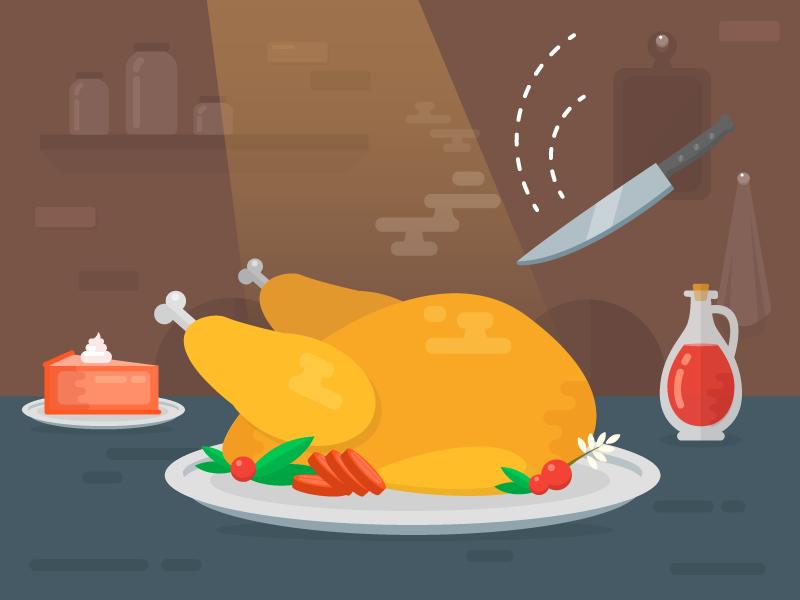Illustration for Fireart Studio Thanksgiving Dribbble shot