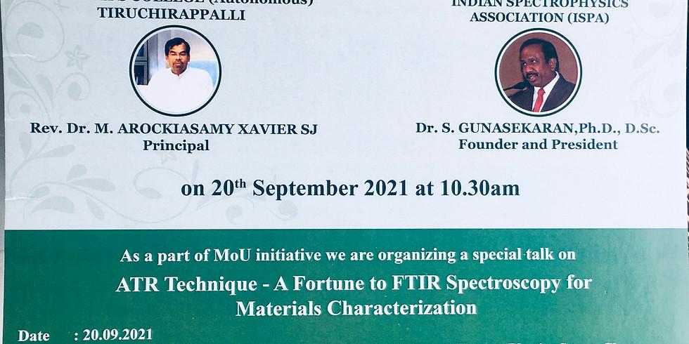 Indian SpectroPhysics Association (ISPA) signing the memorandum of understanding with St.Joseph's College, Tiruchirapall