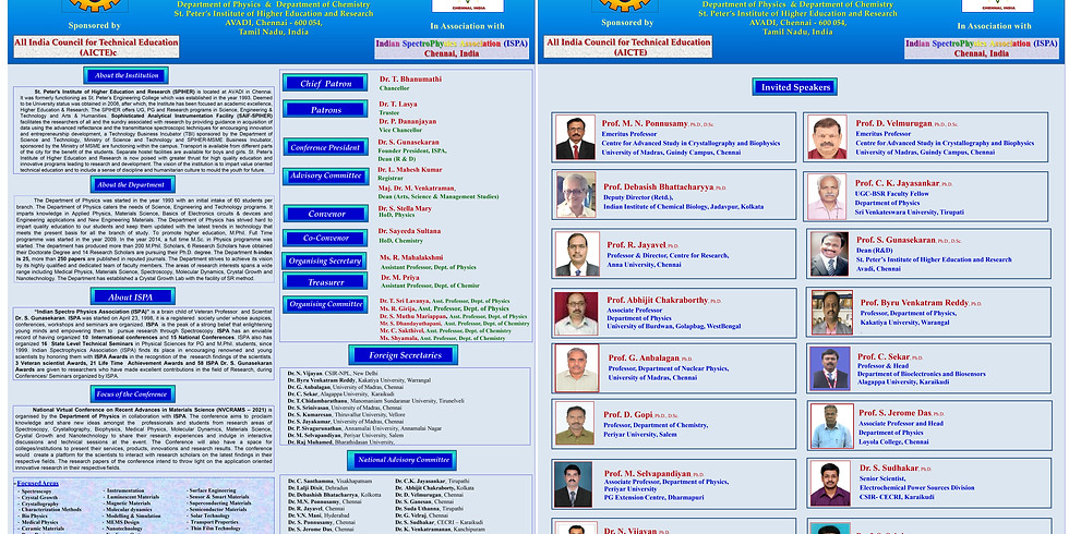 NATIONAL VIRTUAL CONFERENCE ON RECENT ADVANCES IN MATERIALS SCIENCE (NVCRAMS-2021)