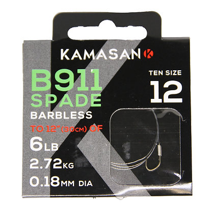 Kamasan B911 Spade Barbless Hooks to Nylon