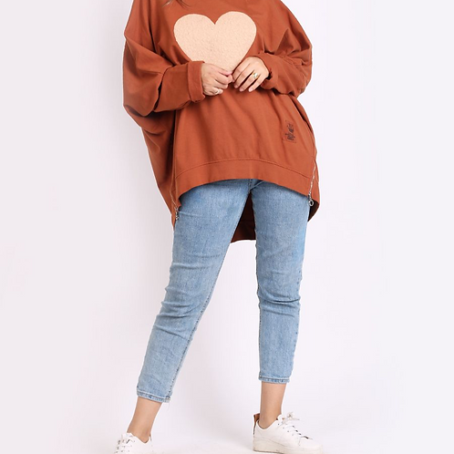 Heart Batwing Over Sized Jumper