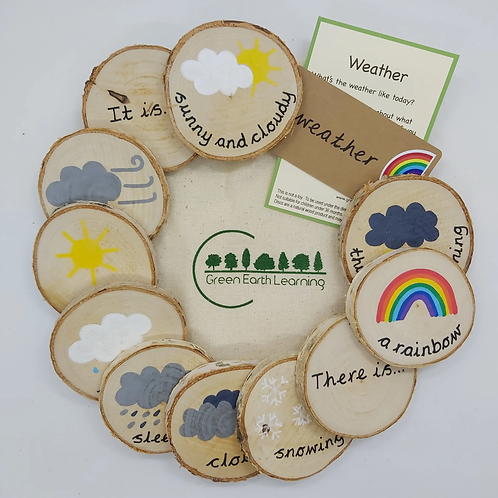 Weather Handpainted Wooden Learning Discs for Children