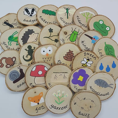 Nature Alphabet Wooden Discs