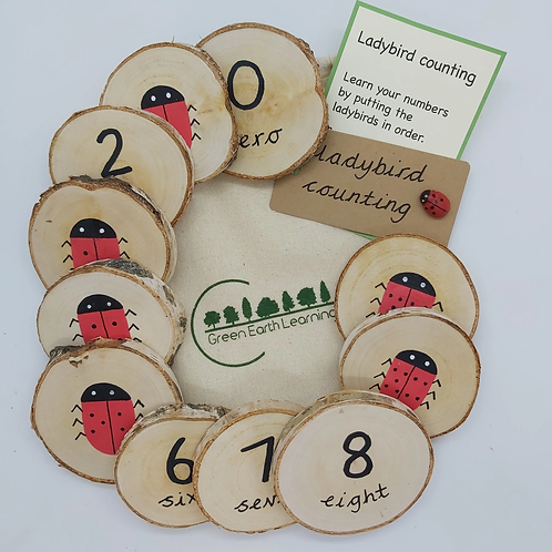 Ladybird Counting - Wooden Learning Discs for Children