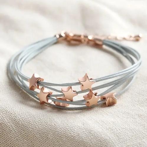 Multi-strand Star Bracelet In Grey And Rose Gold